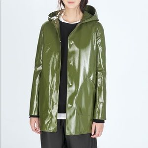 Zara Trafaluc TRF green raincoat slicker jacket